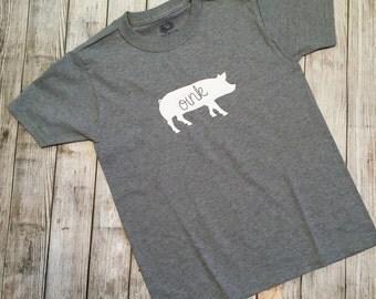 Heather Grey, Pig, Shirt, farm, animal, kids, children, tops, clothing