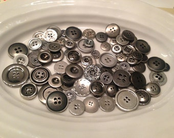 Silver Four Hole Buttons - 100 assorted silver 4 hole buttons