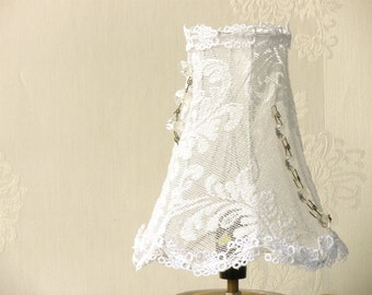 Shabby Chic Lamp, Fabric Lamp, Retro Lighting, Living room lights, Table lamp shade with white tulle, Floral  Country french decor