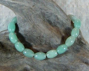 """Green aventurine agate bracelet 7"""" long rice beads lobster clasp semiprecious stone jewelry packaged in a colorful gift bag 11650"""