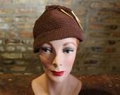 1930s Knit Hat // Hot Chocolate Knit Hat // vintage 30s hat