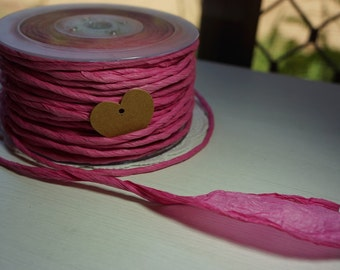 5m Twisted Paper Cord/Ribbon 3-100mm ~ Hot Pink ~ *Gifts*Decorations*