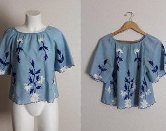 Vintage Embroidered Blouse / Vintage 1970s Embroidered Blouse / Blue Embroidered Blouse / Bohemian Vintage Embroidered Floral Blouse / S/M