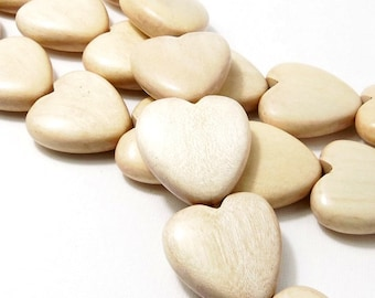 Natural Whitewood Heart Bead, Unbleached, Focal Pendant, Natural Wood Bead, Hand Carved, 25mm, Set of 2 Beads - ID 2156-SET2