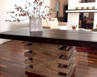 7 foot Scala table with wooden top.