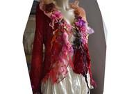 Unique Beautiful Red Crochet Jacket With Lots of Red Beads, Roses, Silks, Silk Velvet SHE LOVES RED Fairy Gipsy Antoinette Tattered