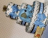 Elephants Baby Diaper Cake Blue with 8 matching minis CUSTOM ORDER for Yailyn P. Shower Centerpiece