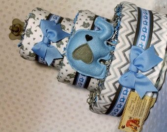 Elephants Baby Diaper Cake Blue Shower Gift or Centerpiece