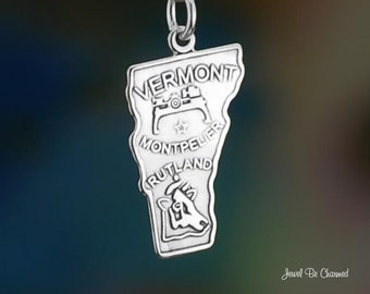 Sterling Silver Vermont Charm State America USA Montpelier Solid .925