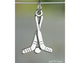 Sterling Silver Sticks and Puck Hockey Charm Sports Gear Solid .925