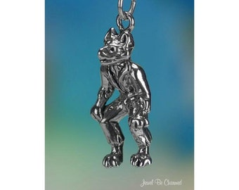 Sterling Silver Wolfman Charm Werewolf Monster Halloween 3D Solid .925