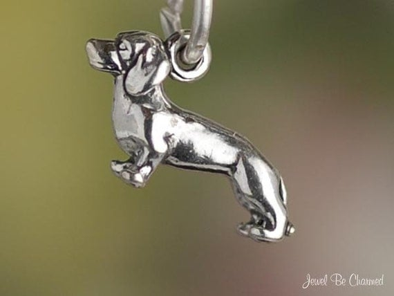Dachshund Charm Miniature Sterling Silver Doxie Dog Small Tiny .925