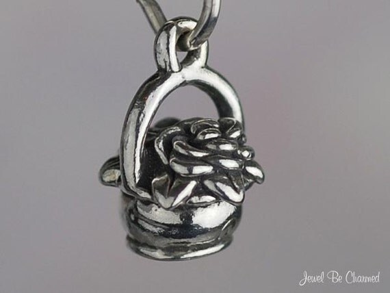 Flower Basket Charm Miniature Sterling Silver Garden Small Tiny .925