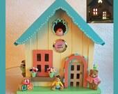 Nursery Nightlight  Birdhouse with photo frame insert for a baby girl or boy