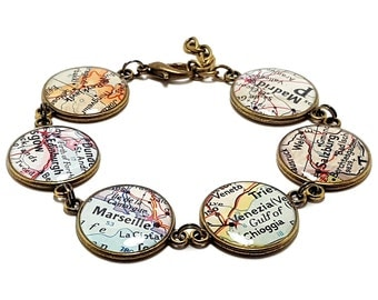 Custom Vintage Map Bracelet. You Select Six Locations. Anywhere In The World. Travel. Map Jewelry. Personalized. Gifts. Christmas. Birthday.