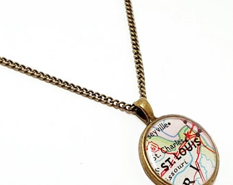 CLEARANCE Sale - St. Louis, Missouri 1963 Map Necklace. Map Pendant. Map Jewelry. Saint Louis Map Resin Pendant Necklace. Travel Map Gifts.