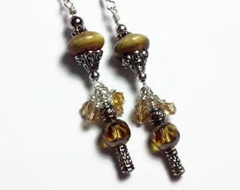 Brown and Yellow dangle earrings with ceramic beads and crystals, earth tone jewelry, natural jewelry, brown jewelry, tan earrings