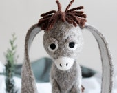 Nestor - The Long-Eared Christmas Donkey. Art Toy. Standing Felted Stuffed. natural undyed wool. MADE TO ORDER.