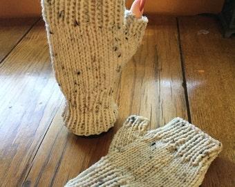 Camel tweed wool fingerless gloves
