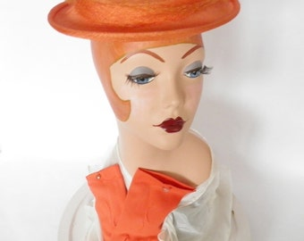 1950s orange hat and gloves vintage Jonquil,