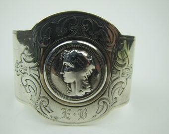 Antique American Gorham Sterling Silver Wide Victorian Bracelet. Engraved Neoclassical Cameo. Initialed EB. Civil War Era Jewellery C1850