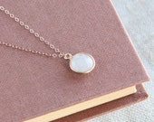 SALE, Gemstone Necklace, Crystal Necklace, White Quartz Necklace, White Quartz Pendant Necklace, Quartz Faceted Necklace, Mineral Necklace