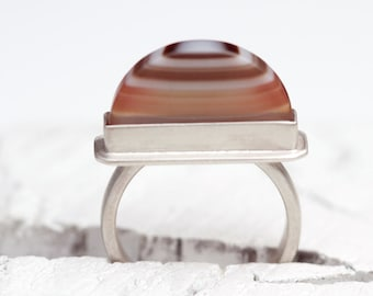 Sterling Silver and Agate Ring