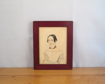 Antique Primitive Folk Art Style Watercolor Bust-Length Portrait of a Woman