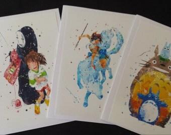 Studio Ghibli Card Trio, Spirited Away, Totaro & Princess Mononoke