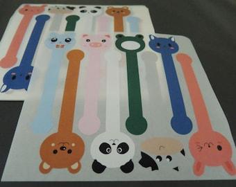 Animal Stickers Pig Rabbit Panda Bear Cow Fong Sticker Long Stickers