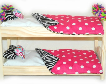 Double Doll Bunk Bed  - Zebra! American Made Girl Doll Bunk Bed - Fits 18 inch dolls and AG dolls
