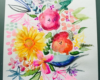 Colorful summer inspired floral watercolor  and gouache painting. Pretty bright neon tones.