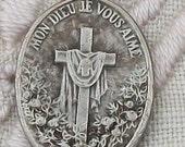 Vintage French Religious Pendant Medal Silver St Therese Saint Teresa