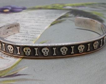 Large Size Sterling Silver 925 Taxco Mexico Skull & Bones Cuff Bracelet
