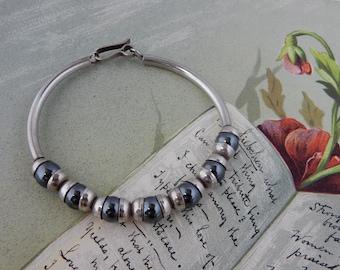 Sterling Silver & Hematite Bead Bracelet    NCA6