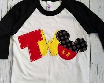 Mickey mouse birthday shirt, two, 2nd, girl boy t shirt,
