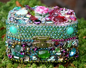 Jeweled Boho Jewelry Box Casket Rhinestones Crystals Chest Box Crystals Encrusted Jewelry Lampwork Rose - Original Art- Ulitmate Gift Box