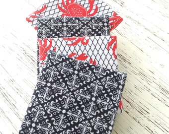 Set of 4 Fabric Covered Crab and Damask Coasters