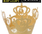 """12pcs Gold Crown Cinderella Carriage Paper Lace Wedding Party Favors Decor Cupcake Cake Cups Wrappers Liners - 204mm x 57mm (8.03"""" x 2.24"""")"""