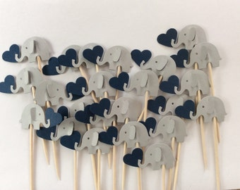 24 elephant cupcake toppers Gray and navy  blue and gray Party Picks - Cupcake Toppers Baby Shower - Food Picks