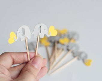 24 elephant cupcake toppers Light gray and yellow - Yellow and gray Party Picks