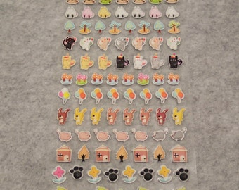 Mixed Adorable Puff Puff Farm Animals Stickers