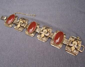 designer signed bracelet, Marino jewelry, signed jewelry, chunky bracelet, Carnelian gemstone bracelet, vintage bracelet, Marino bracelet