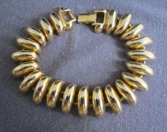 gold bracelet, designer signed bracelet, Erwin Pearl jewelry, erwin pearl bracelet, chain bracelet, signed vintage jewelry, Erwin Pearl
