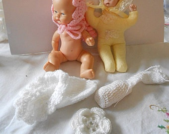2 BABY DOLLS NEWBORN Playmates 4094 & 4093 with Pink Bonnet, Sugar Lump Boots Tyner Yellow Onesie Bonnet with Porcelain Head Hands 1980's #6