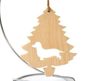 Dachshund Dog Ornament Christmas Tree Dog Silhouette Hand Cut Maple Scroll Saw