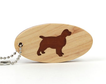 English Spaniel Key Fob Pet Key Chain Wood Dog Breed Key Fob Wood Dog Key Chain Pet Accessories Spaniel Key Chain Cherry
