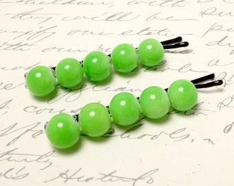 Lime Green Beaded Bobby Pins. Chartreuse Green Hair Pins. Classic Everyday Hair Accessories.