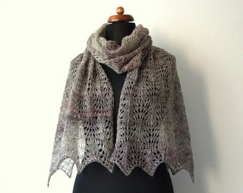 wool lace shawl, knitted lace stole, natural beige with pinkish stripes, rustic lace scarf, eco fashion