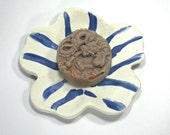 Ceramic Soap Dish, Flower Plate - Eye of the Tiger in White and Sapphire Blue with Tan Center (Dessert Plate, Trinket Dish, Hostess Gift)